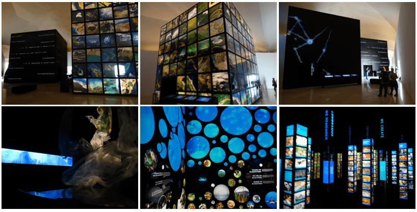 Местная выставка представляет пять основных дисциплин: Космос, Землю, Антропоцен, Завтрашний день и Нынешний момент
