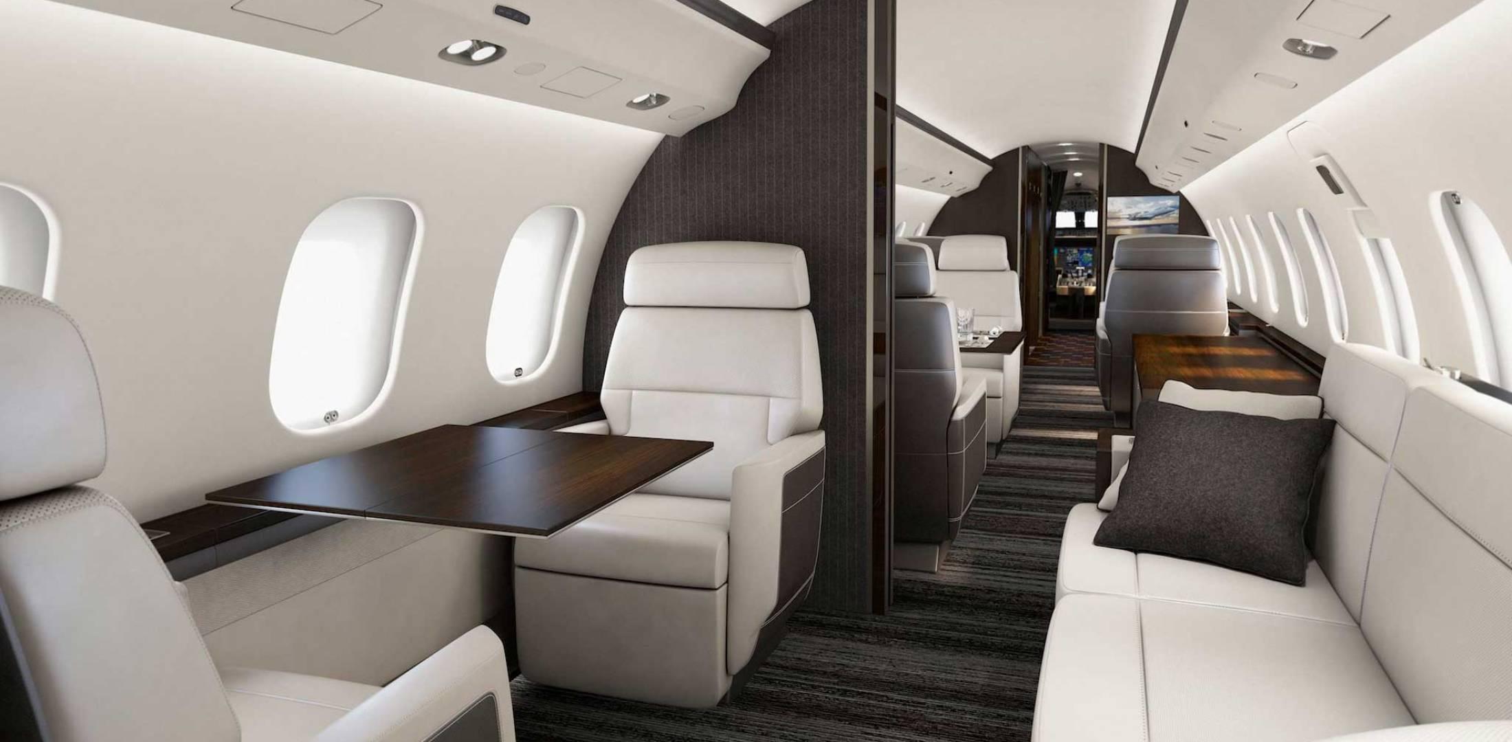 С четырьмя зонами салона самолет Global 7000 уникален среди бизнес-джетов по параметрам просторности, роскоши, комфорта и гибкости дизайна